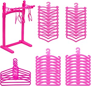 HighFun 60Pack Doll Furniture Clothing Rack 55PCS Pink Plastic Little Doll Hangers for Barbie Doll Clothes Wardrobe Doll Clothes Accessories