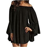 ZANZEA Women's Sexy Off Shoulder Chiffon Lace Ruffle Sleeve Blouse Mini Dress