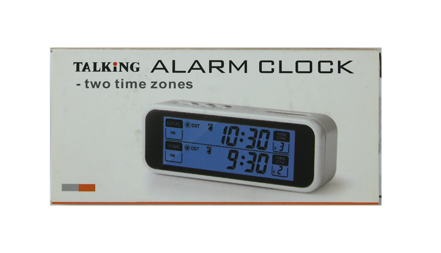 Ultmost Talking Dual-Time Travel Alarm Clock, English, White