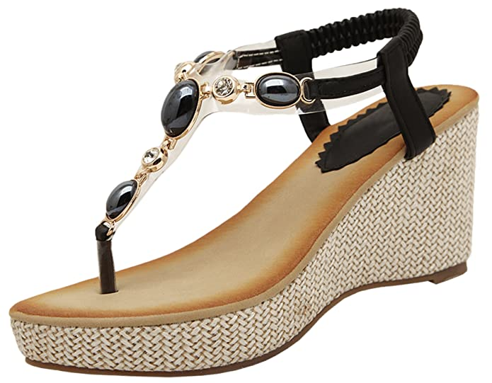610f8c2d20ca1f BIGTREE Women Thong Sandals Summer Beach Bohemian Shiny Pearl High Heel  Wedge Sandals  Amazon.co.uk  Shoes   Bags
