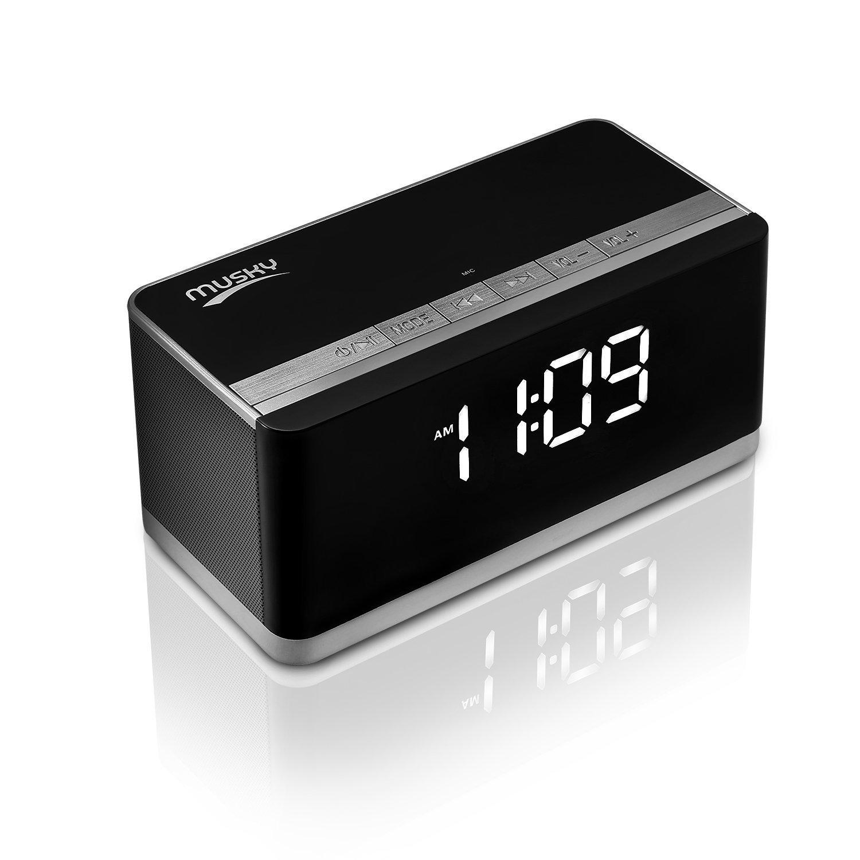 Musky DY-27 Portable Clock Alarm Wireless Bluetooth Speaker, 10W, Deep Bass, hands-free, FM Radio, USB HOST, TF card slot, Black
