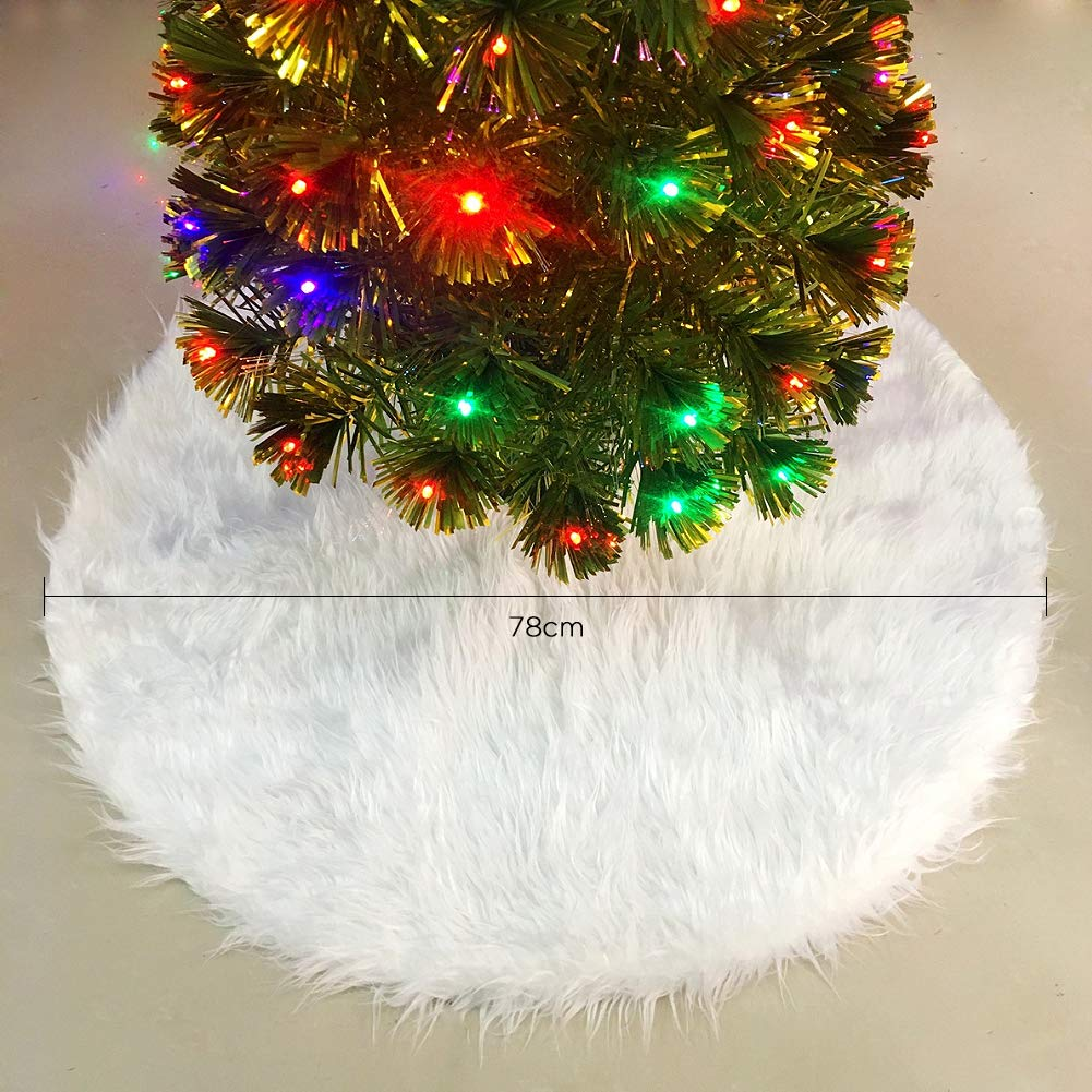 Non-Woven Christmas Tree Skirt Apron Tree Skirt for Christmas Decorations White Tree Skirt for Christmas Merssyria Christmas Tree Skirt