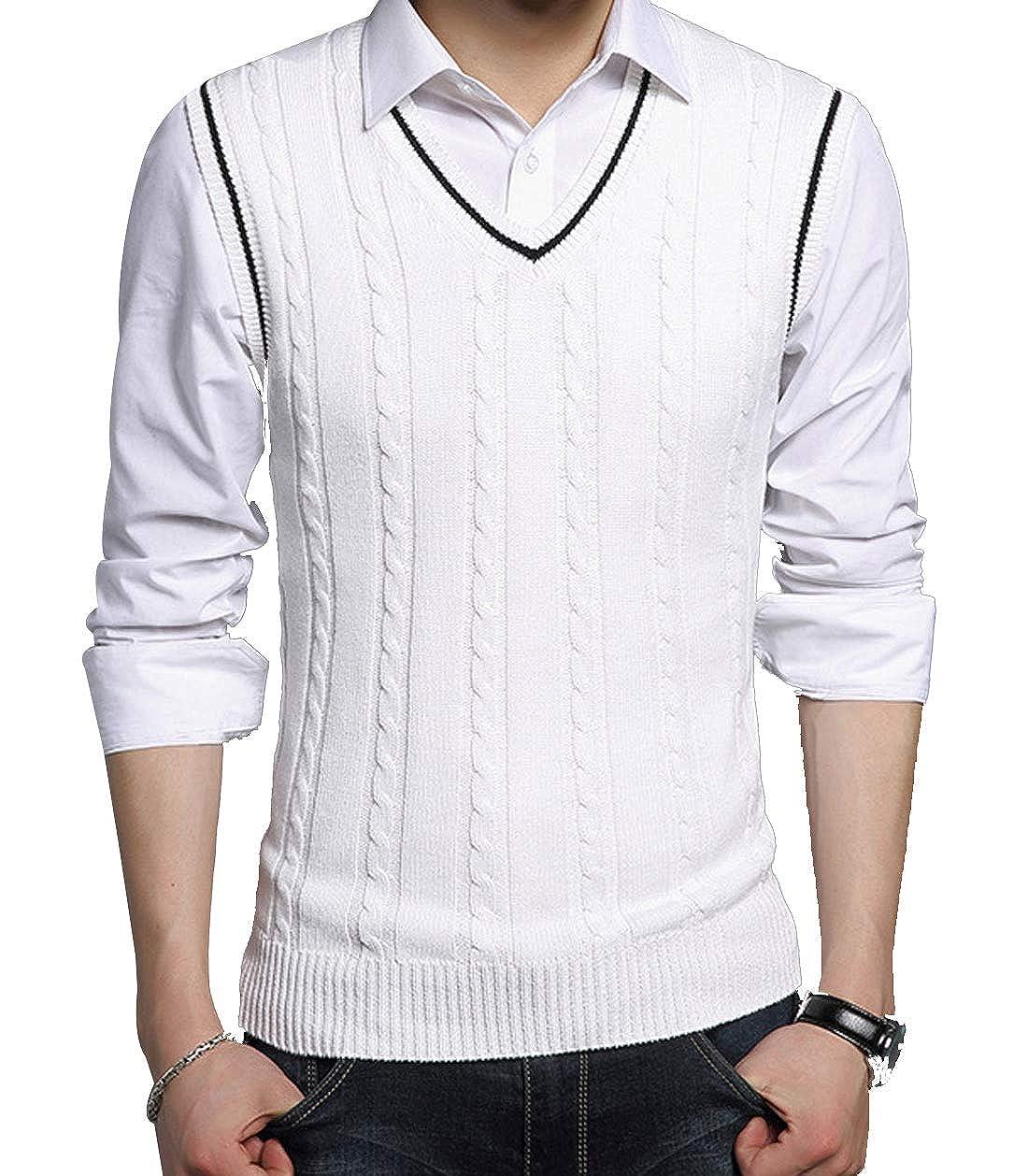 AIEOE Men Cable-Knit Sweater Vest Warm Cotton Winter V-Neck Waistcoat
