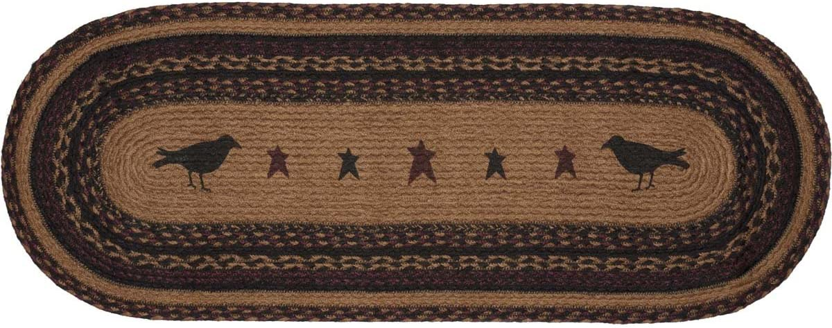 VHC Brands 37902 Primitive Tabletop & Kitchen-Heritage Farms Crow Oval Jute Runner, 13x36, Mustard Tan Yellow