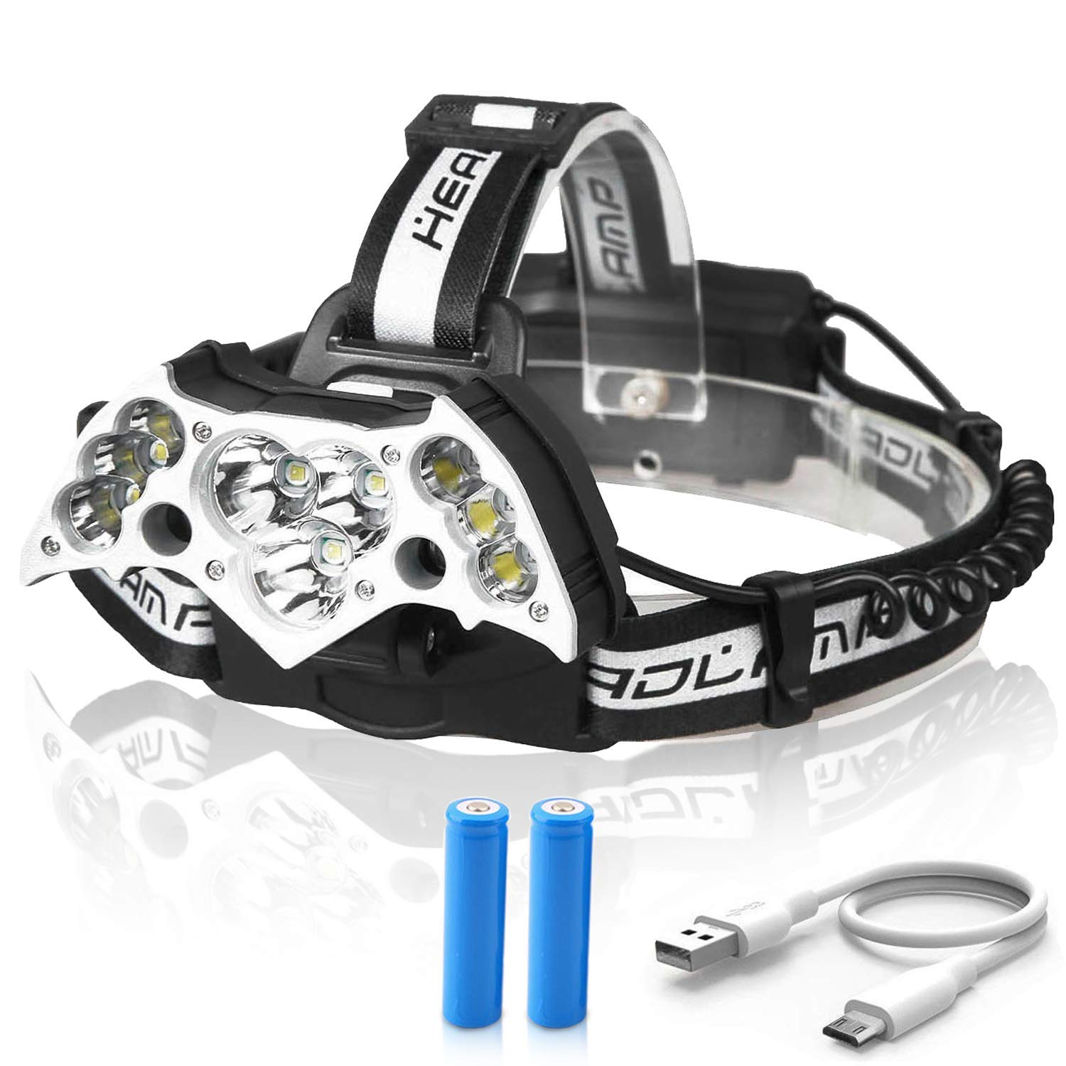 Rechargeable Headlamp Flashlight, MOCCO Waterproof Powerful 11 LED T6 Headlight High Lumen Super Bright Rechargeable Head Torch for Camp Emergency Light Fishing with Battery, USB Cable
