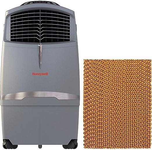 Honeywell 525 CFM Swamp Remote Control in Gray with Bonus Replacement Filter Indoor//Outdoor Evaporative Air Cooler