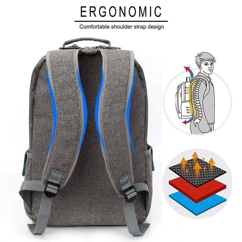 Gray KINGSLONG Women Laptop Backpack 15.6 Inch Unique Button Style Slim and Stylish Computer Bag Shockproof Large Capacity College School Backpack for Travel Business Work Day Pack