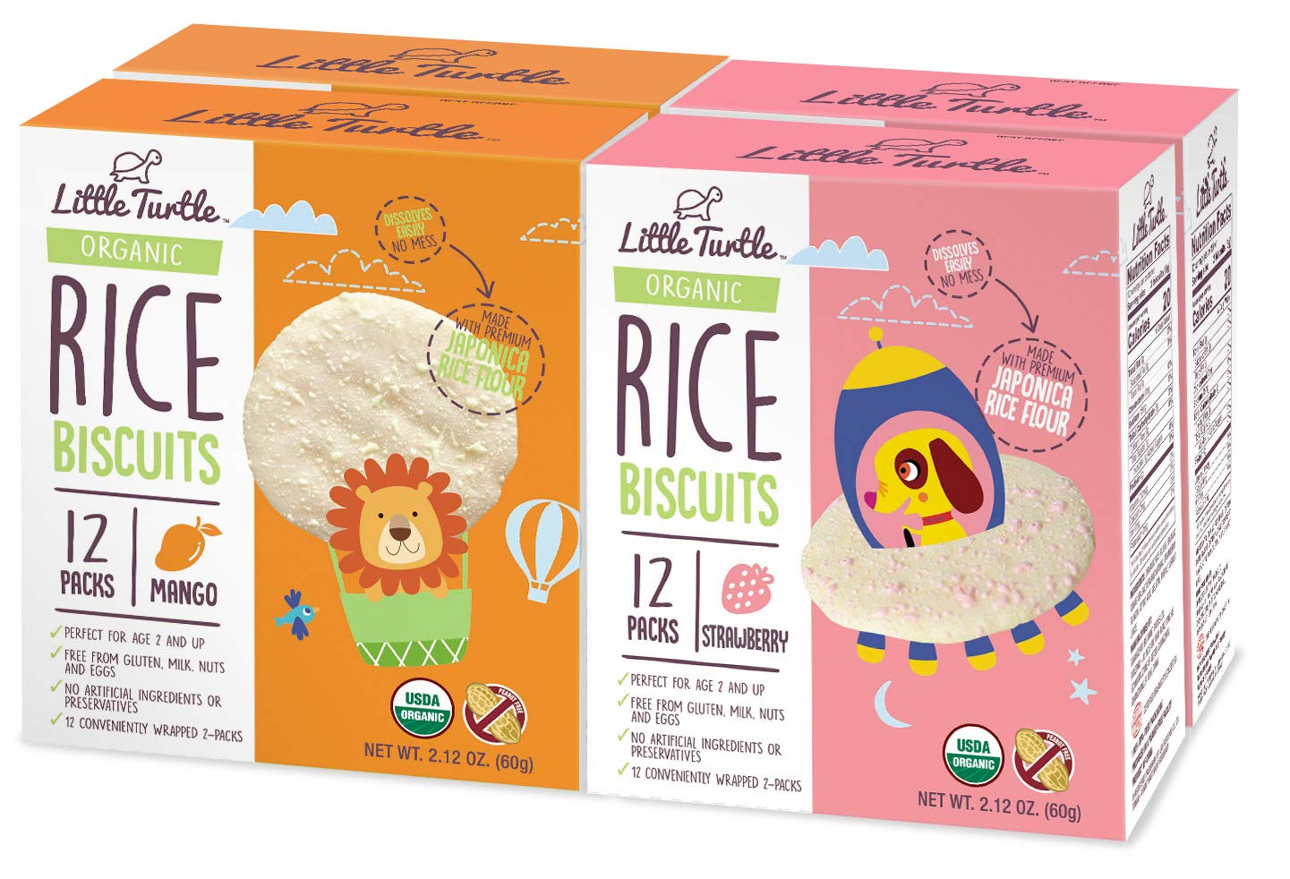 Little Turtle Rice Biscuits Combo Pack, Organic Mango & Strawberry Flavor, 12 wrapped 2 Pack, 4 Count by Little Turtle