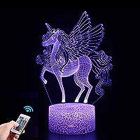 Eenhoorn geschenken, 3D Eenhoorn Nachtlampje voor Kinderen met Afstandsbediening, 16 Kleuren Veranderen 3D-illusielamp…