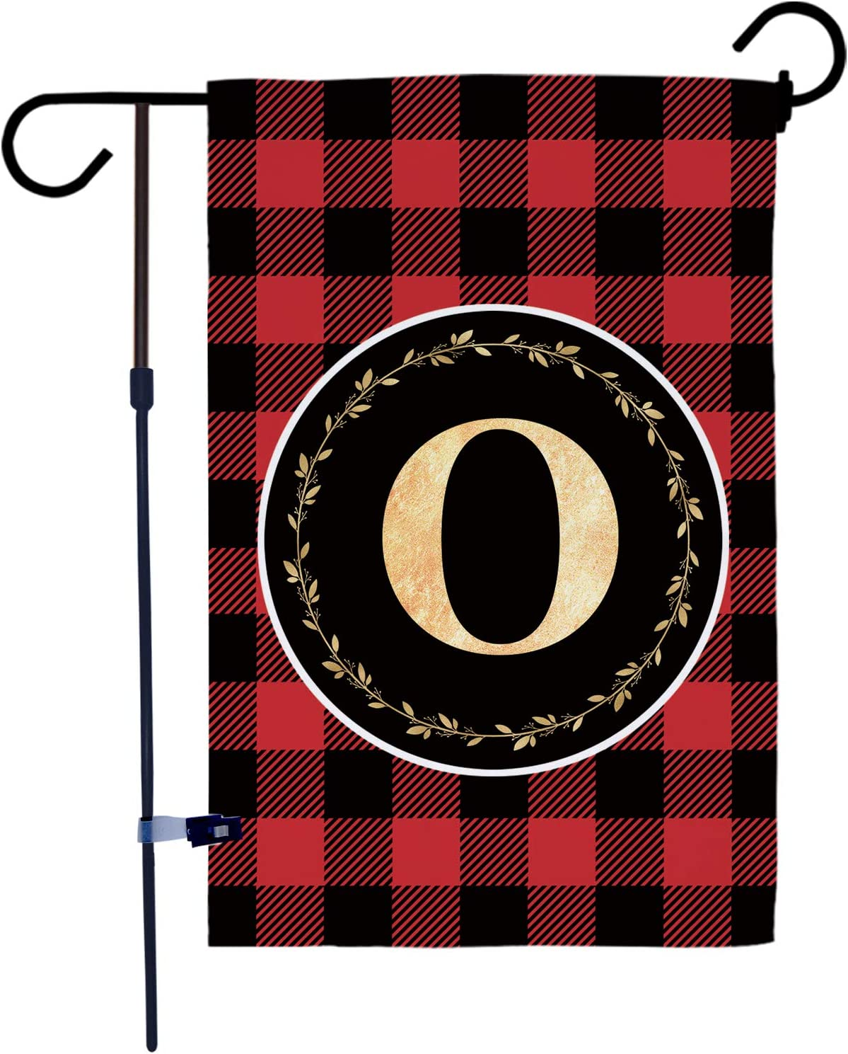 AKPOWER Small Garden Flag Black and Red Plaid Check Vertical Double Sided Farmhouse Burlap Yard Outdoor Decor Classic Monogram Letter 12.5 x 18 Inch O