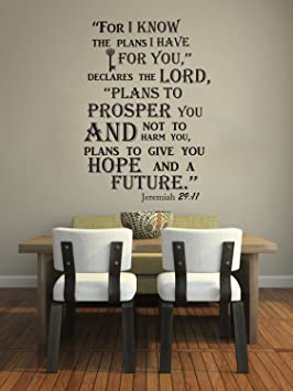 Wall Decals Quotes Jeremiah 29:11 Bible Verse Sign Words Family Decor Wall  Vinyl Decal