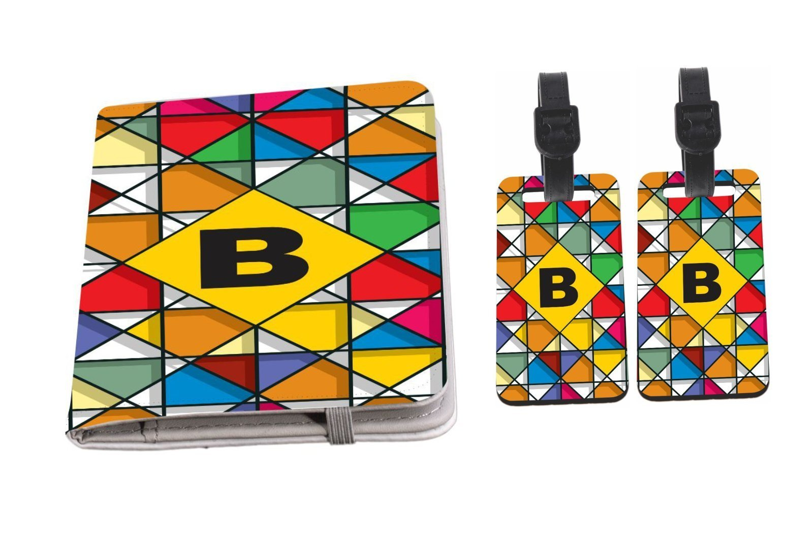 Rikki Knight Letter B Monogram Vibrant Colors Stained Glass Design Passport Holder with slots for Travel documents with 2 matching (1-sided) Luggage Identifier Tags by Rikki Knight