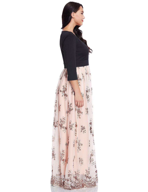 2a3da6e0316 GRAPENT Women s Plus Size Sequin 3 4 Sleeves Evening Gown Party Long Maxi  Dress