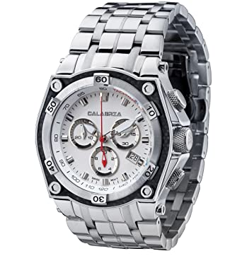 calabria bianco white chronograph mens watch with carbon fiber bezel and stainless steel band calabria stainless steel