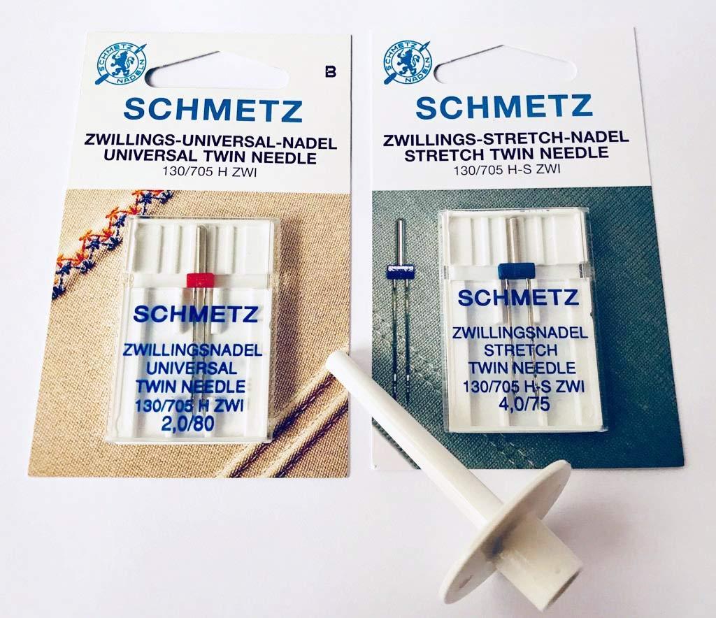 ZwillingsnadelSET Stretch 4,0//75 Universl 2.Garnrollenhalter