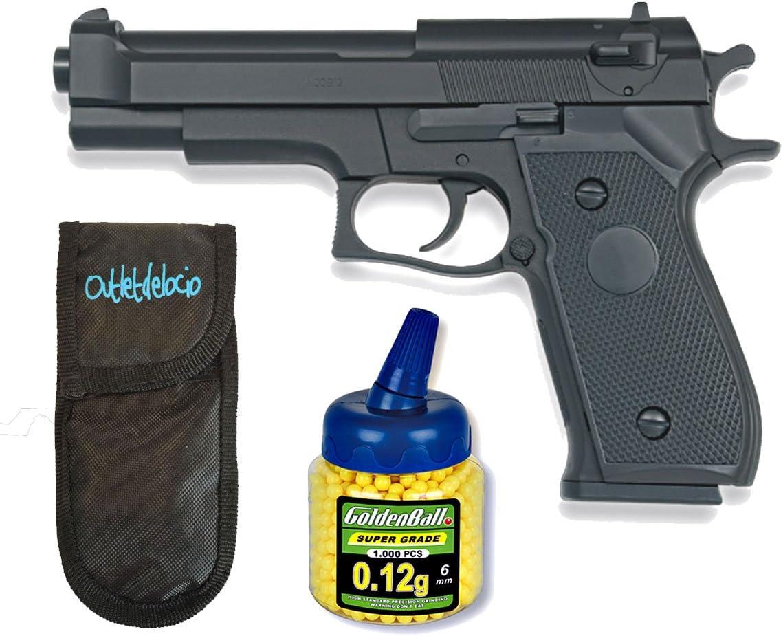 Outletdelocio. Pistola airsoft HFC negra. Calibre 6mm. + 1000 Bolas + Funda Portabolas. 61853/21993/23054