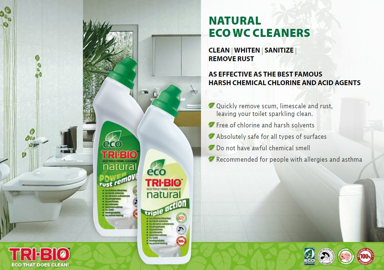 Tri-Bio Eco Natural Triple Action Toilet Bowl Cleaner 710ml Non-Toxic and Safe
