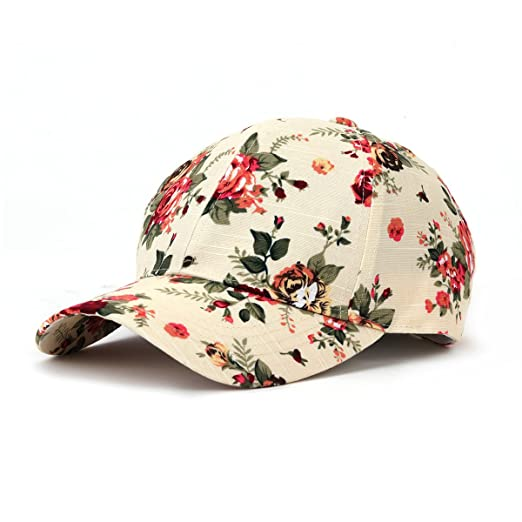 6cb9e021a7a JOOWEN Floral Print Baseball Cap Adjustable 104% Cotton Canvas Dad Hat Hats  For Women (