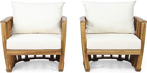 Rapae Outdoor Acacia Wood Club Chairs