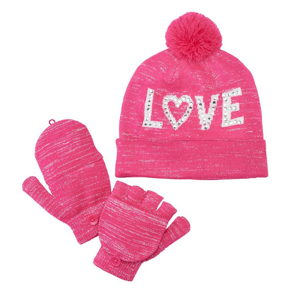 Girls 4-16 SO Sparkly Hat & Convertible Mittens Set (Pink Love, Medium /Large 7-16) by SO (Image #1)