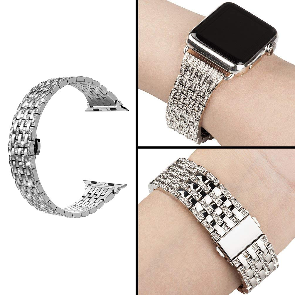 Wearlizer Silver Bling Compatible for Apple Watch Band 42mm 44mm Womens Crystal Rhinestone for iWatch Luxury Stainless Steel Bracelet Strap Diamond Wristbands Replacement Series 4 3 2 1 Edition by Wearlizer (Image #6)