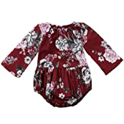 Newborn Infant Baby Girls Cute Bodysuit Cotton Floral Printed Jumpsuit Long Sleeve Clothes (Red, 0-6Months)