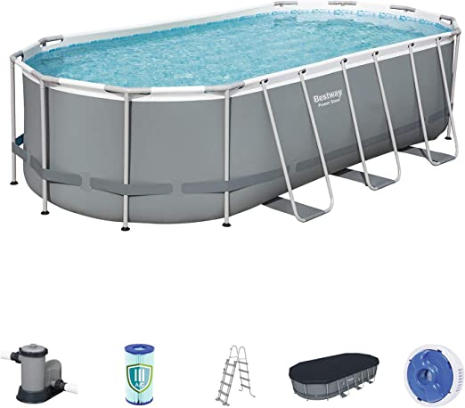 Bestway 56710 - Piscina Desmontable Tubular Power Steel Oval ...