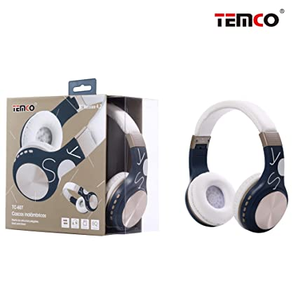 TEMCO Auriculares Bluetooth de Diadema Inalámbricos, Cascos Bluetooth Plegable con Micrófono Manos Libres,Almoadilla