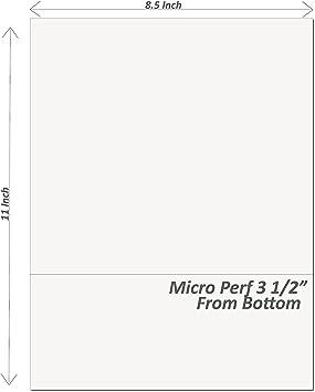 24# White Stock Carton of 2500 8-1//2 x 11 Laser Cut Sheet 1 Horizontal Perforation 5-1//2 from Bottom