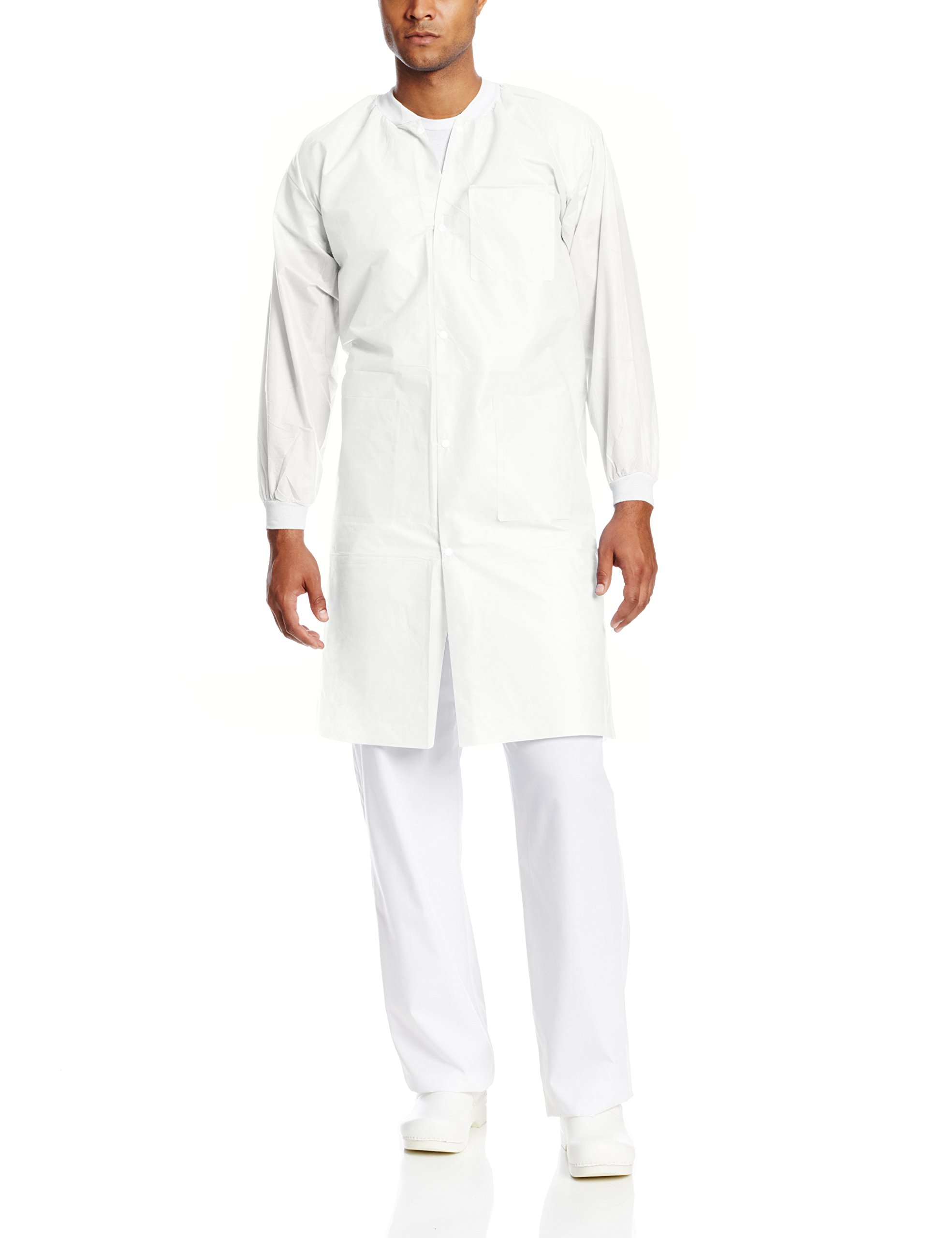ValuMax 3660WHXL-K Knit Collar, Extra-Safe, Wrinkle-Free, Noble Looking Disposable SMS Knee Length Lab Coat, White, XL, Pack of 10