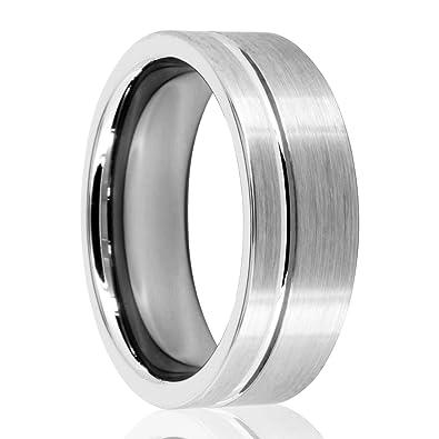 Silber Geburstet Wolfram Tungsten Ringe 8 Mm Breit Aus Wolframcarbid
