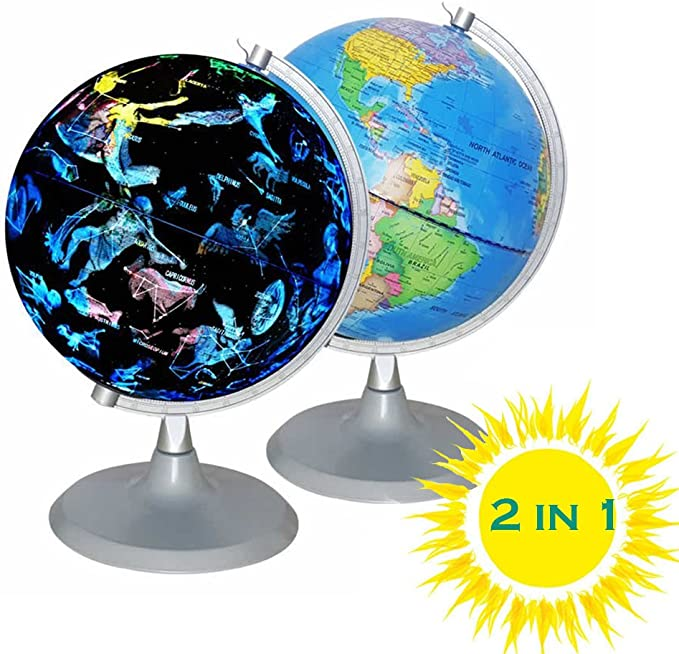 Happygrill Geographic World Globe with LED Lights Educational Desktop World Globe for Classroom Office