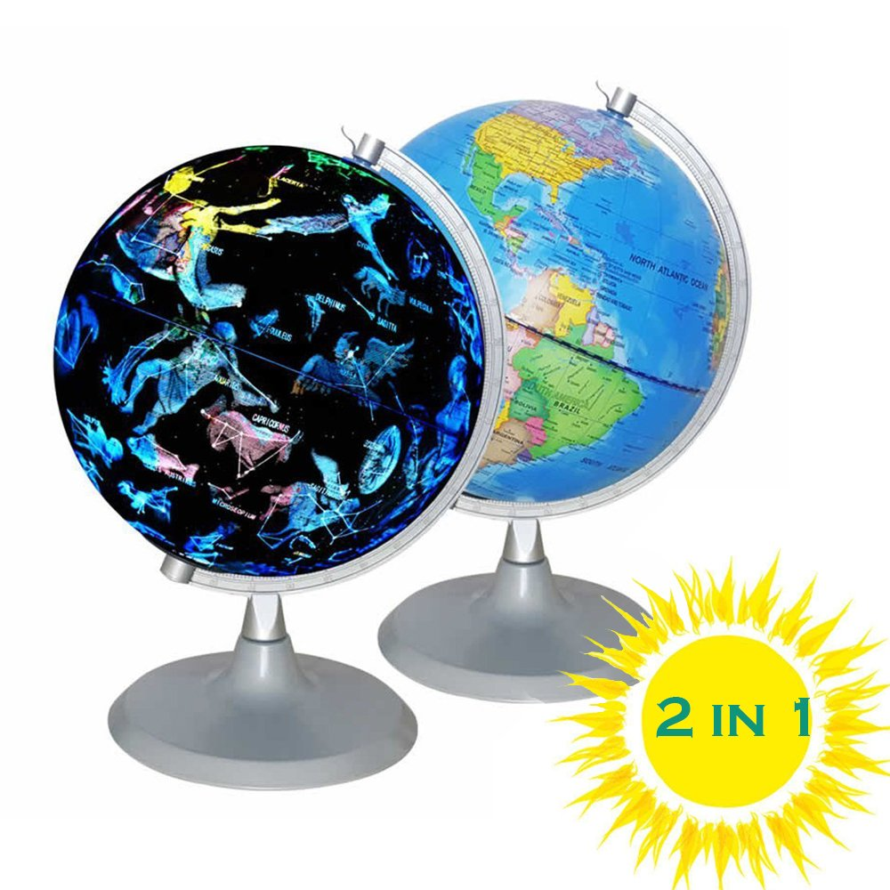 CYHO Illuminated World Globe - USB 2 in 1 LED Desktop World Globe, Interactive Earth Globe