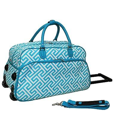 World Traveler 21-Inch Carry-On Rolling Duffel Bag, Light Blue White Greek ef133ccb06