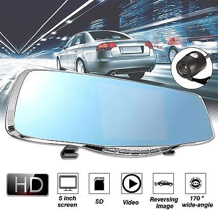 ZHUOTOP 1080P 5 pulgadas HD doble lente coche DVR retrovisor cámara de vídeo cámara de visión