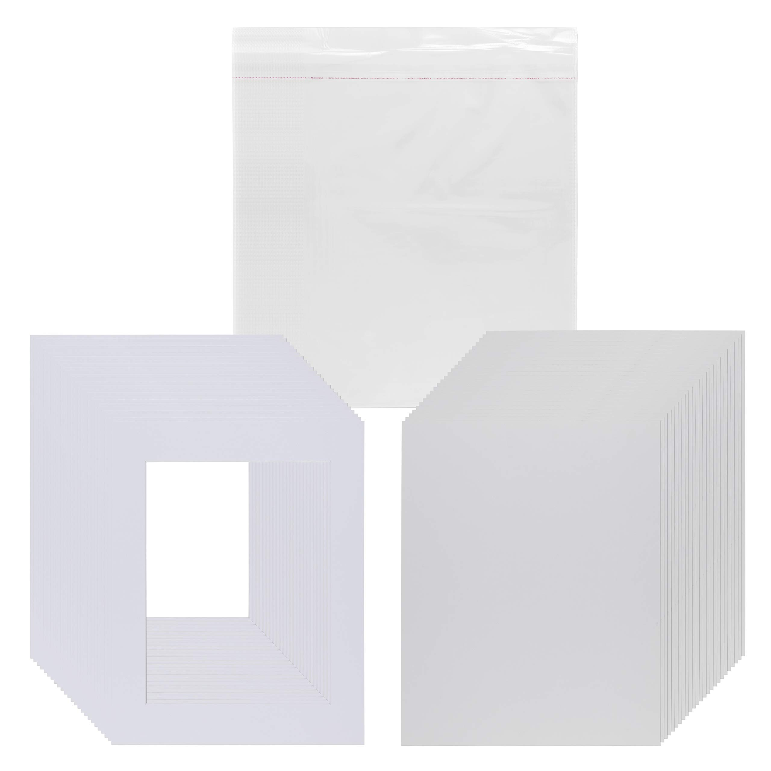 Pack of 25 11x14 Picture Mats Pre Cut for 8.5x11 Photos or Art, White Core Bevel, Set Includes Backing Board & Sealed Bags - White by Viewpoint