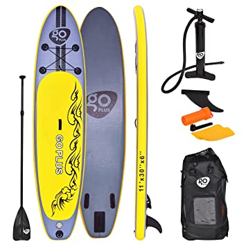 costway 11ft sup inflatable surfing board soft surf stand up paddle