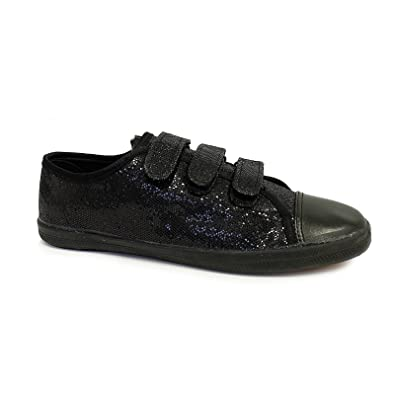 5fedbea17e6e New Ladies Womens Girls Silver Black Flat Slip ON Glitter Strap Velcro  Plimsolls Pumps Canvas Trainers Shoes Size 3 4 5 6 7 8: Amazon.co.uk: Shoes  & Bags
