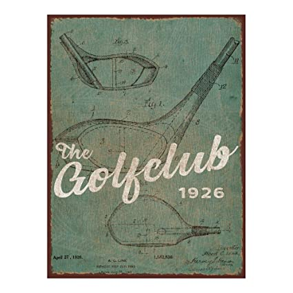 Green Golf Club Patent Metal Sign, Driver, Wood, Golf Décor, Clubhouse,