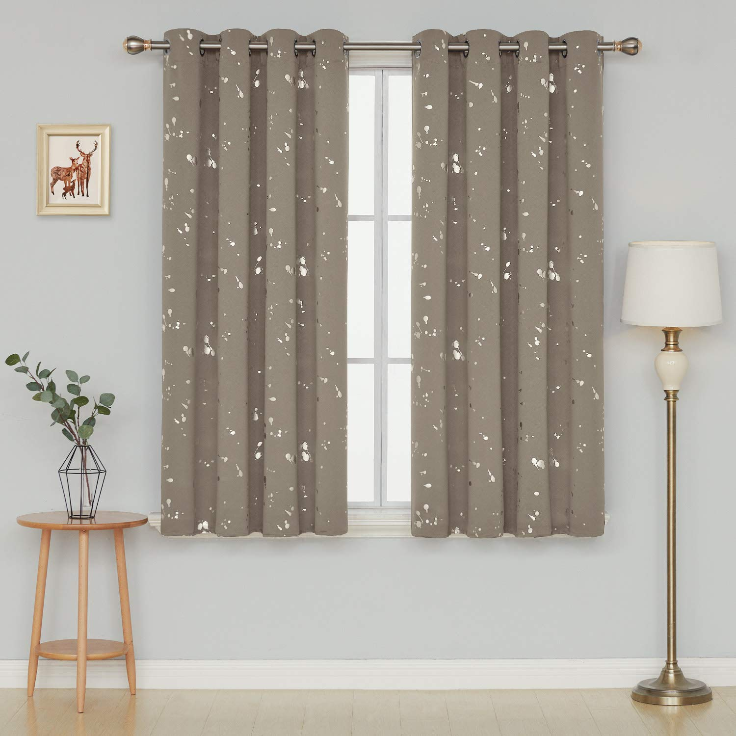 Deconovo Super Soft Thermal Curtains Foil Dots Printed Curtains Eyelet Blackout Curtains for Kids Bedroom Khaki 140x175cm One Pair