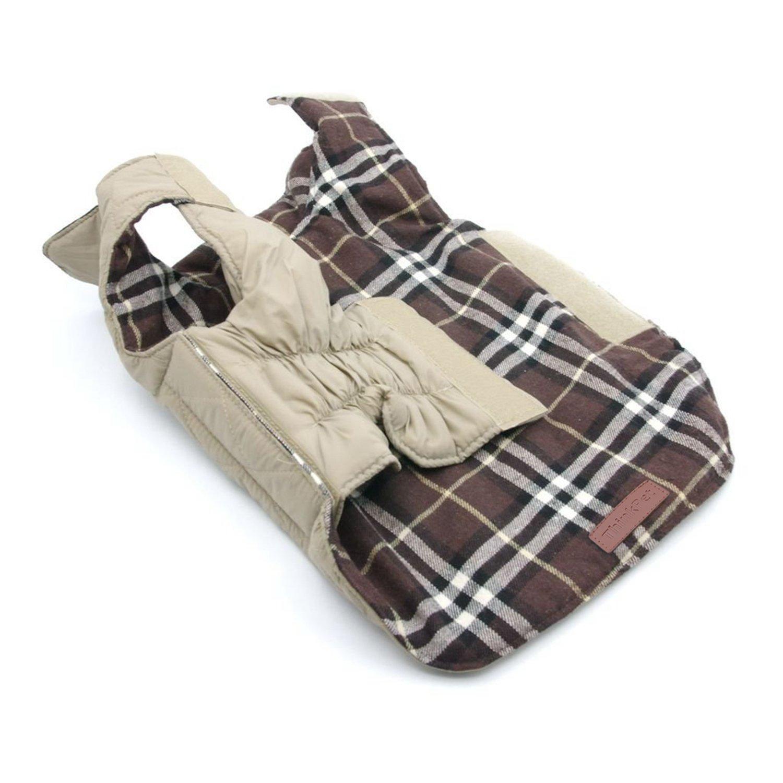 Beige Plaid,M Cappotto a Quadri Stile Britannico Cappotto Invernale Cane ThinkPet Cappotti e Giubbotti per Cani Cappottino Cane Reversibile