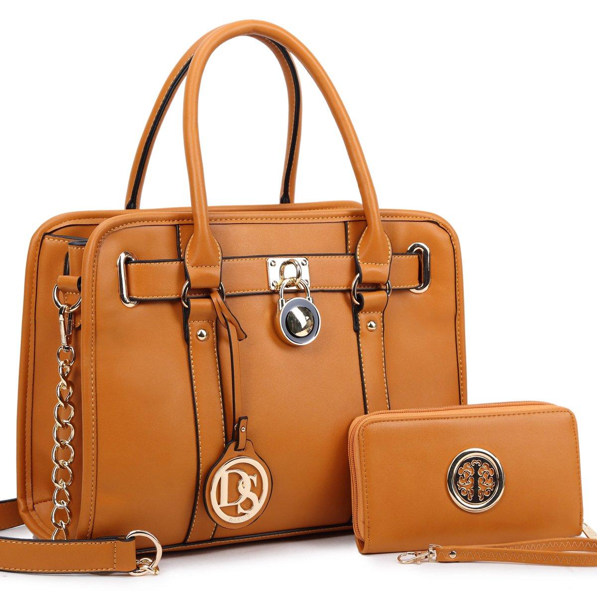 Dasein Women's Satchel Handbags Designer Padlock Purses Shoulder Bags Work Bags w/Chain Strap
