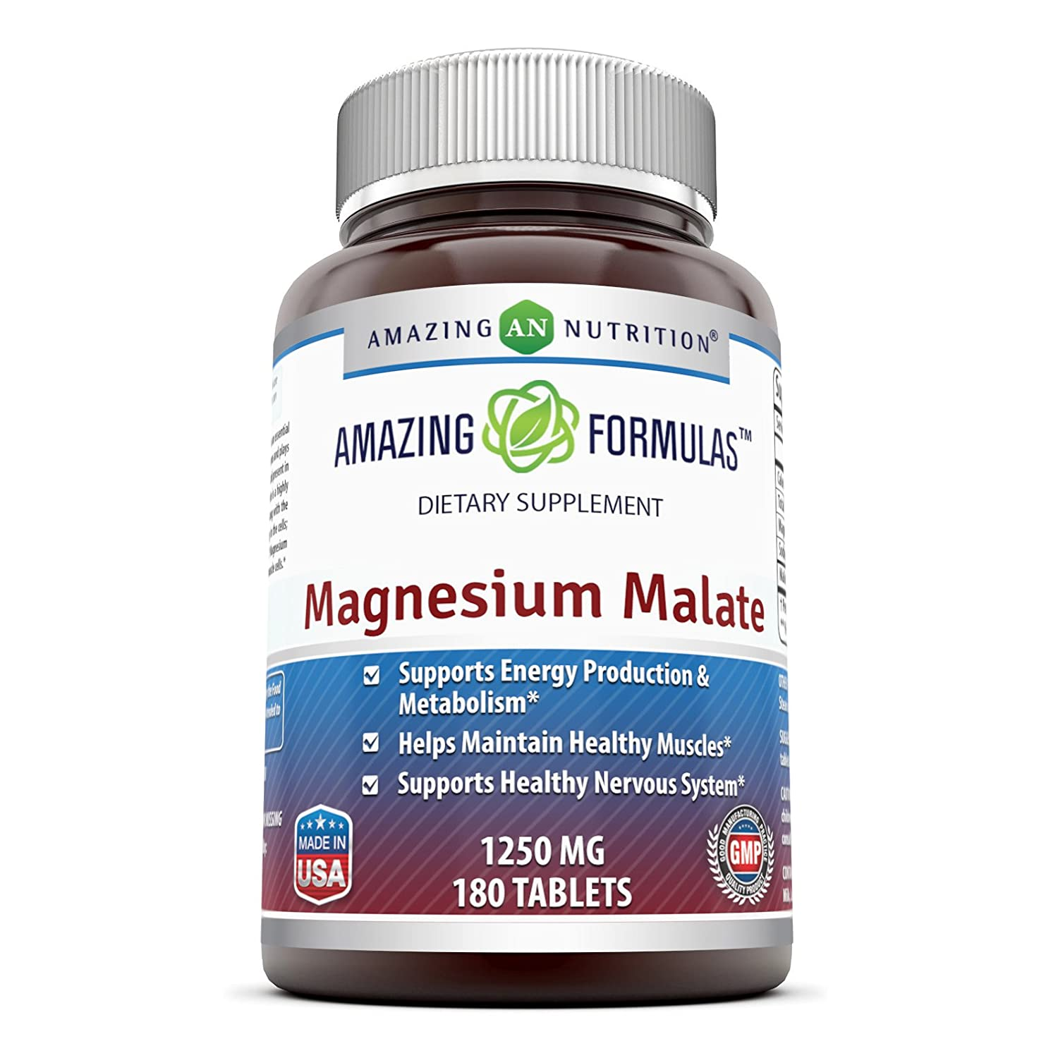 Amazing Formulas Magnesium Malate - 1250 mg per serving 180 Tablets: Amazon.es: Salud y cuidado personal