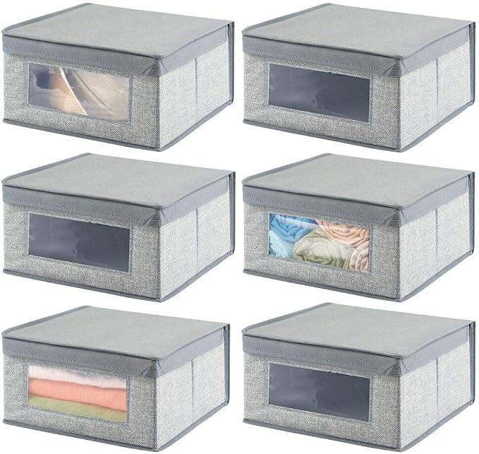 mDesign Juego de 6 Cajas organizadoras apilables – Gran Organizador de armarios con Ventana para despacho, Dormitorio o Sala de Estar – Caja con Tapa de Fibra sintética – Gris: Amazon.es: Hogar