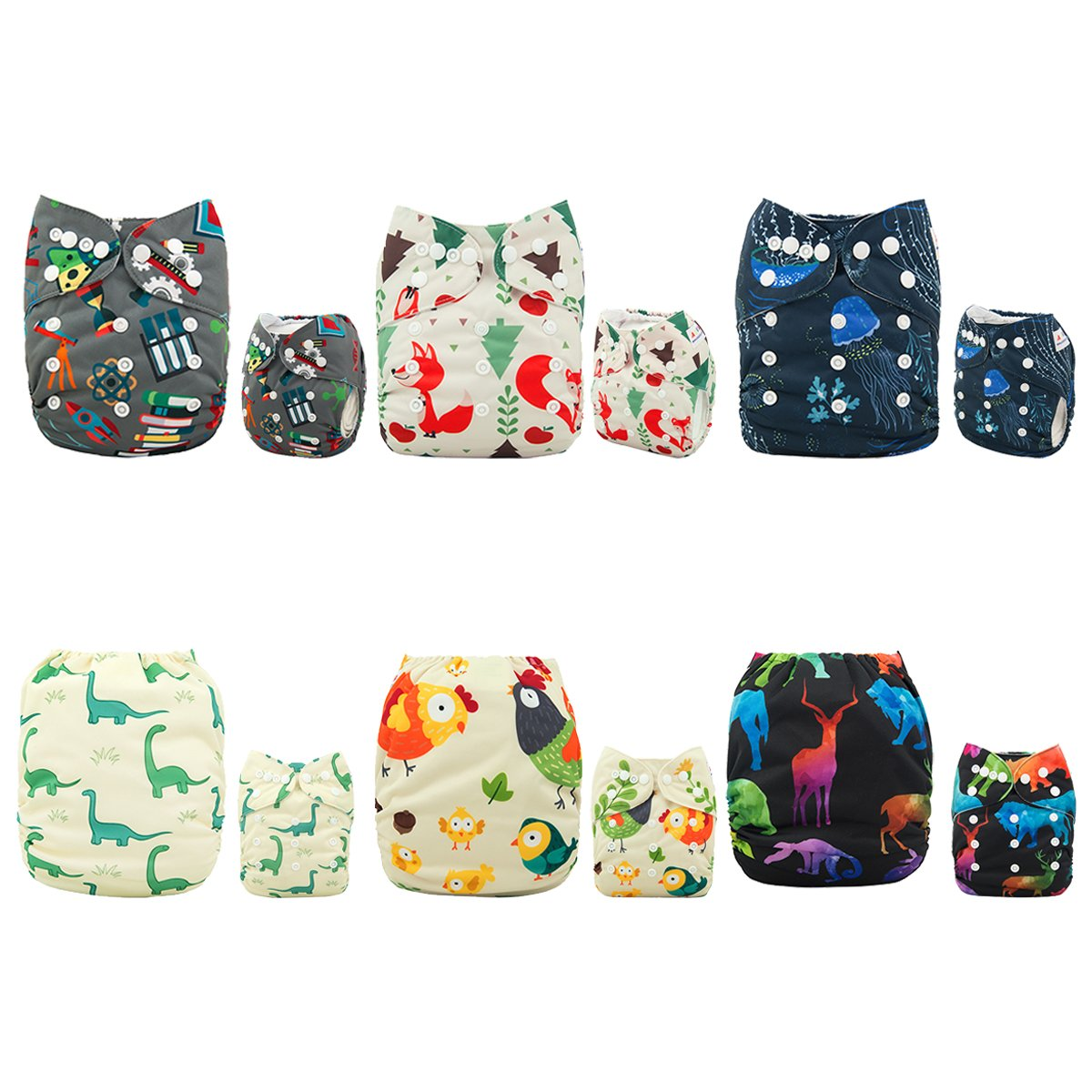 ALVABABY Baby Cloth Diapers One Size Adjustable Washable Reusable for Baby Girls and Boys 6 Pack + 12 Inserts 6DM52