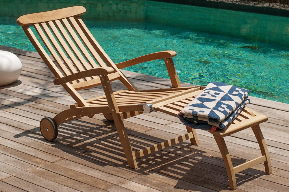 Villeroy & Boch Deckchair Sunrise - Liegestuhl Gartenliege Holzliege Sonnenliege Teakholz