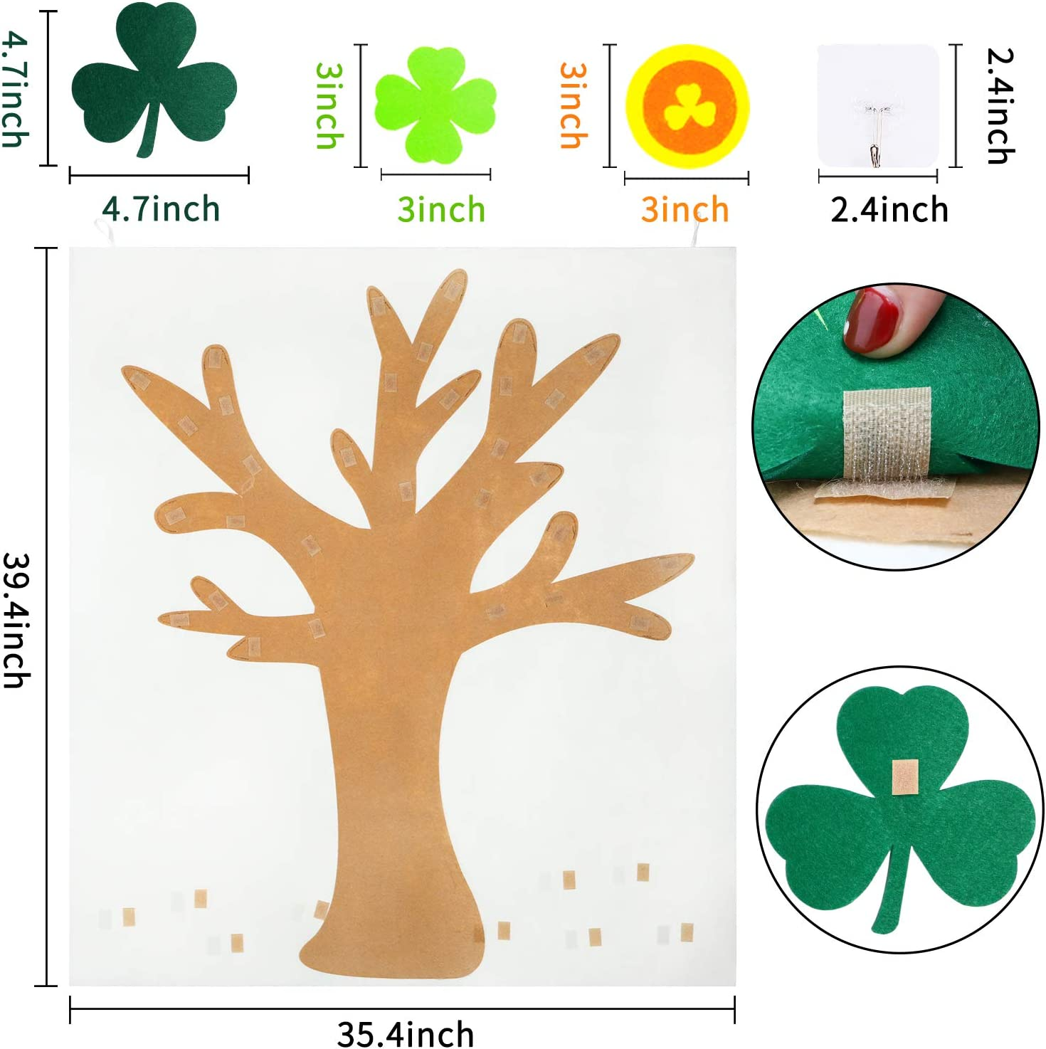 Good Luck Clover Decor for Patrick Patrick Party Decorations Birthday Party Favors for Kids St Patricks Day Wall Hanging Decoration WATINC DIY Felt Tree with 40Pcs Shamrock Detachable Ornaments