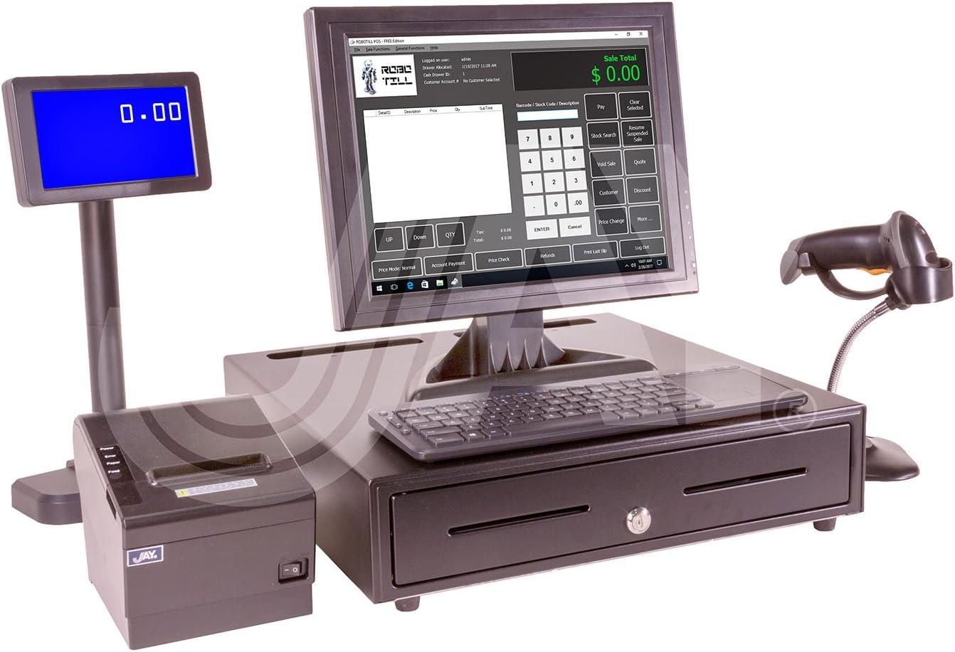 Jay Premium POS System pkg #1121. New DELL Optiplex 3050 Micro PC w/Windows 10 Pro 64bit COA + New Peripherals:.Monitor, Drawer, Printer, VFD, Scanner, Keyboard. Request Brochure from Company