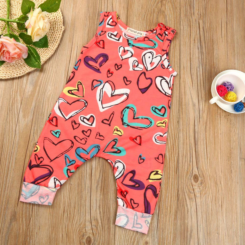 Gonxifacai Romper Jumpsuit Overall Newborn Infant Baby Girl Sleeveless Heart Print Clothes