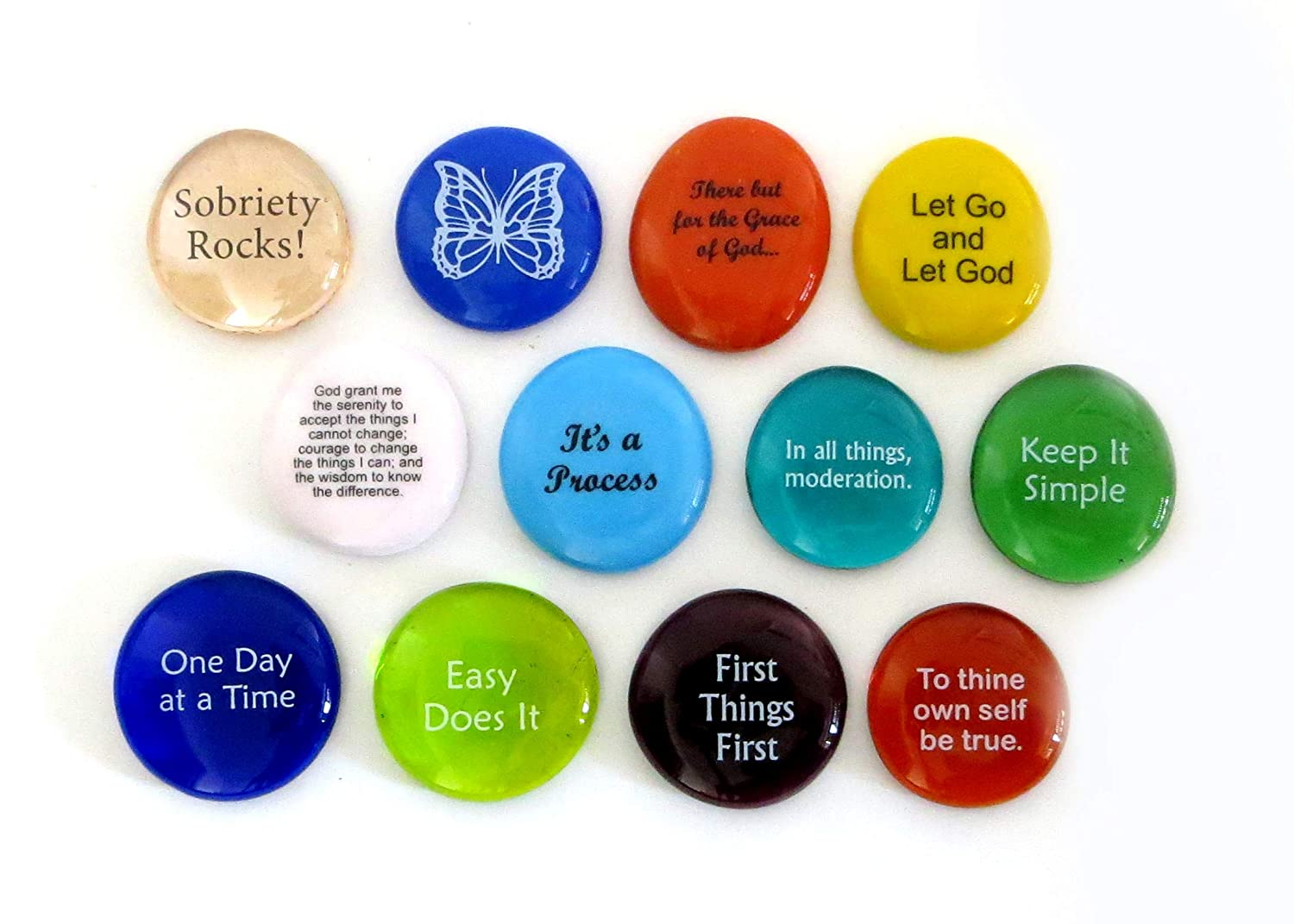 Recovery Stones, 12 Daily Reminders for Encouragement in Sobriety on Glass Stones. Perfect for 12 Step Anniversary Gifts. By Lifeforce Glass. Inc. Set 94